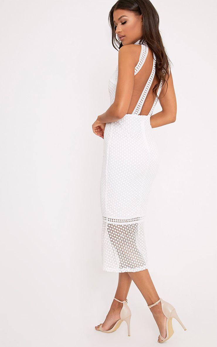 Kymmie White Lace High Neck Midi Dress
