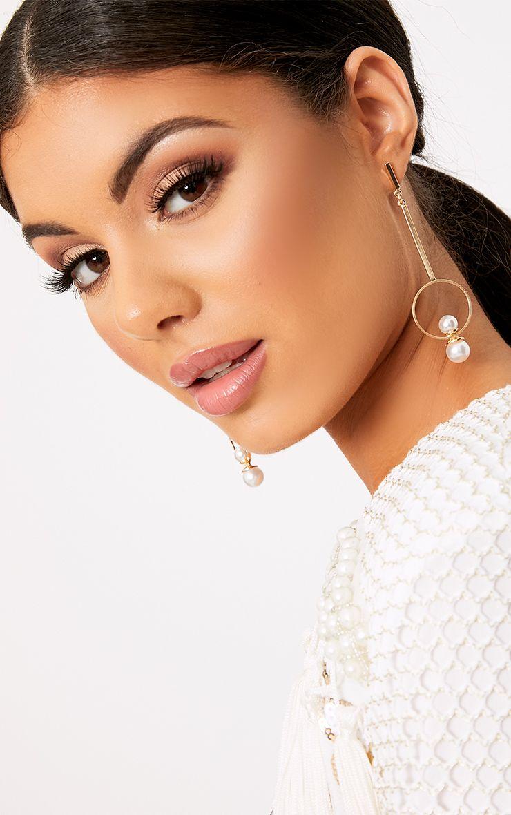 Jessica boucles d oreilles dorées à pendentif circulaire et perle