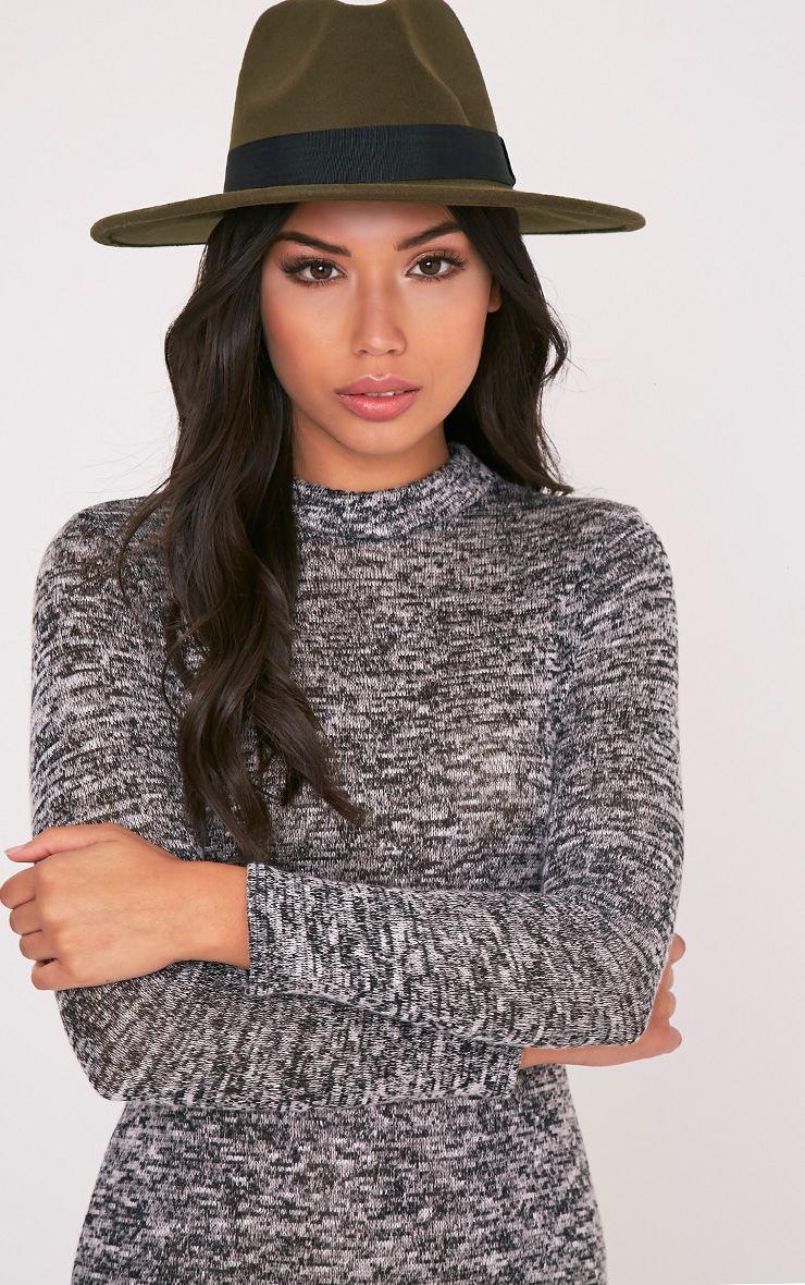Kynia Khaki Wide Fedora Hat