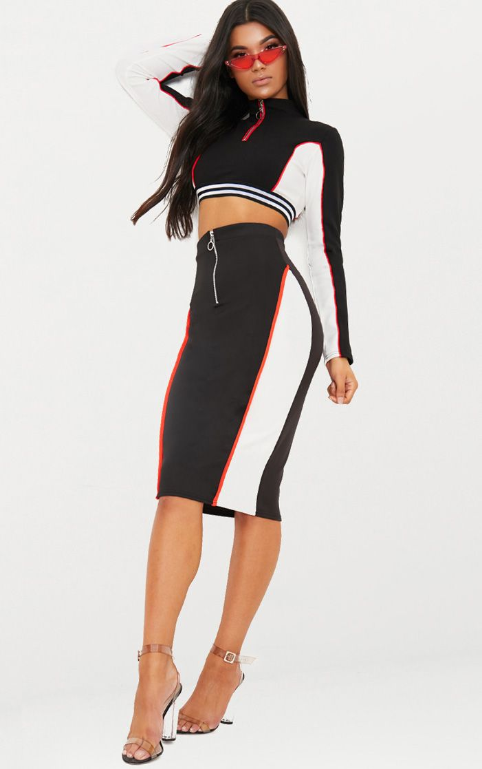 Black Contrast Panel Zip Front Midi Skirt