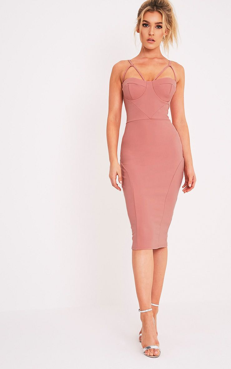 Carrie Rose Crepe Panel Midi Dress 1