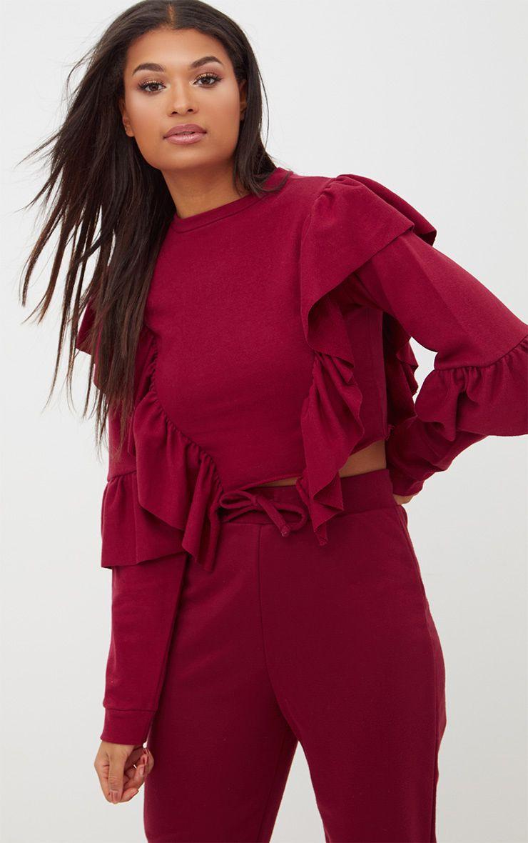 Burgundy Ruffle Frill Crop Sweater 1