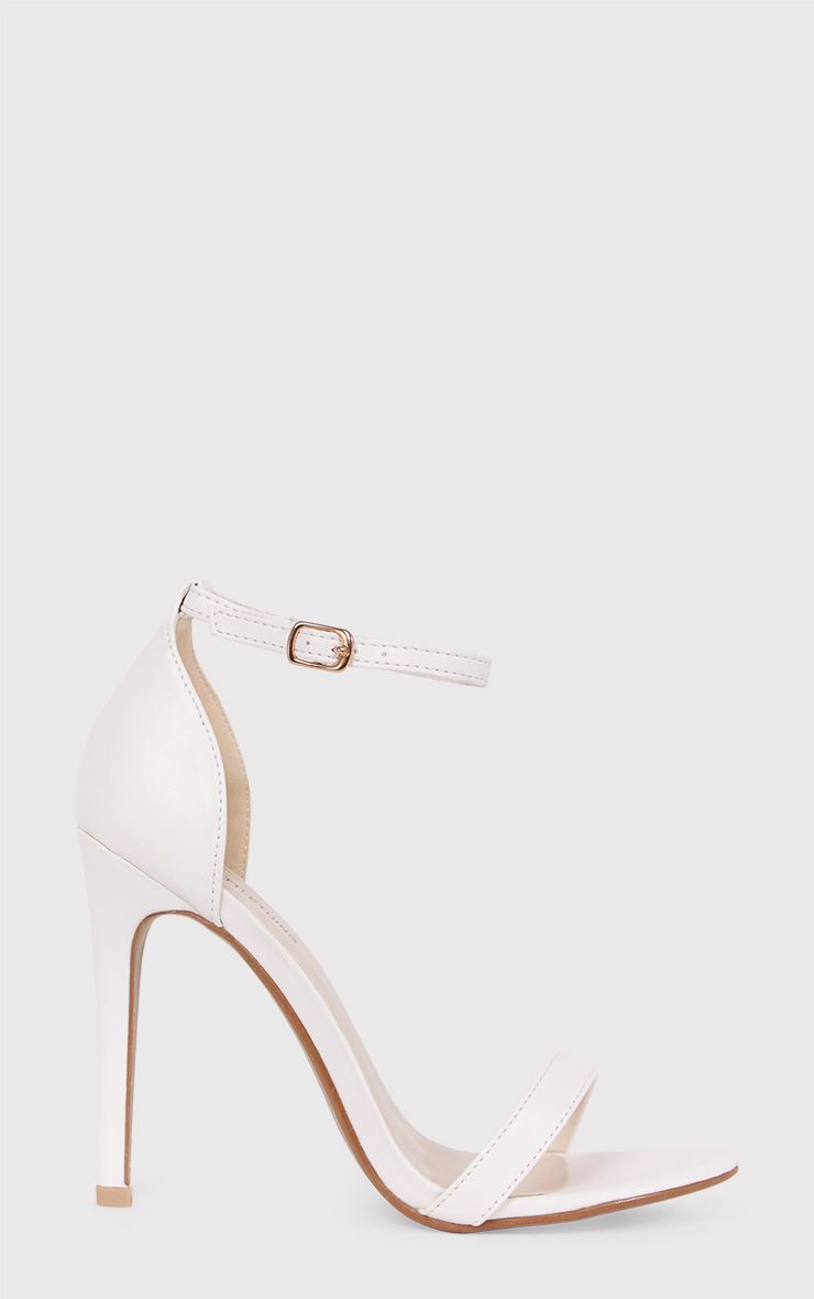 Clover White Strap Heeled Sandals