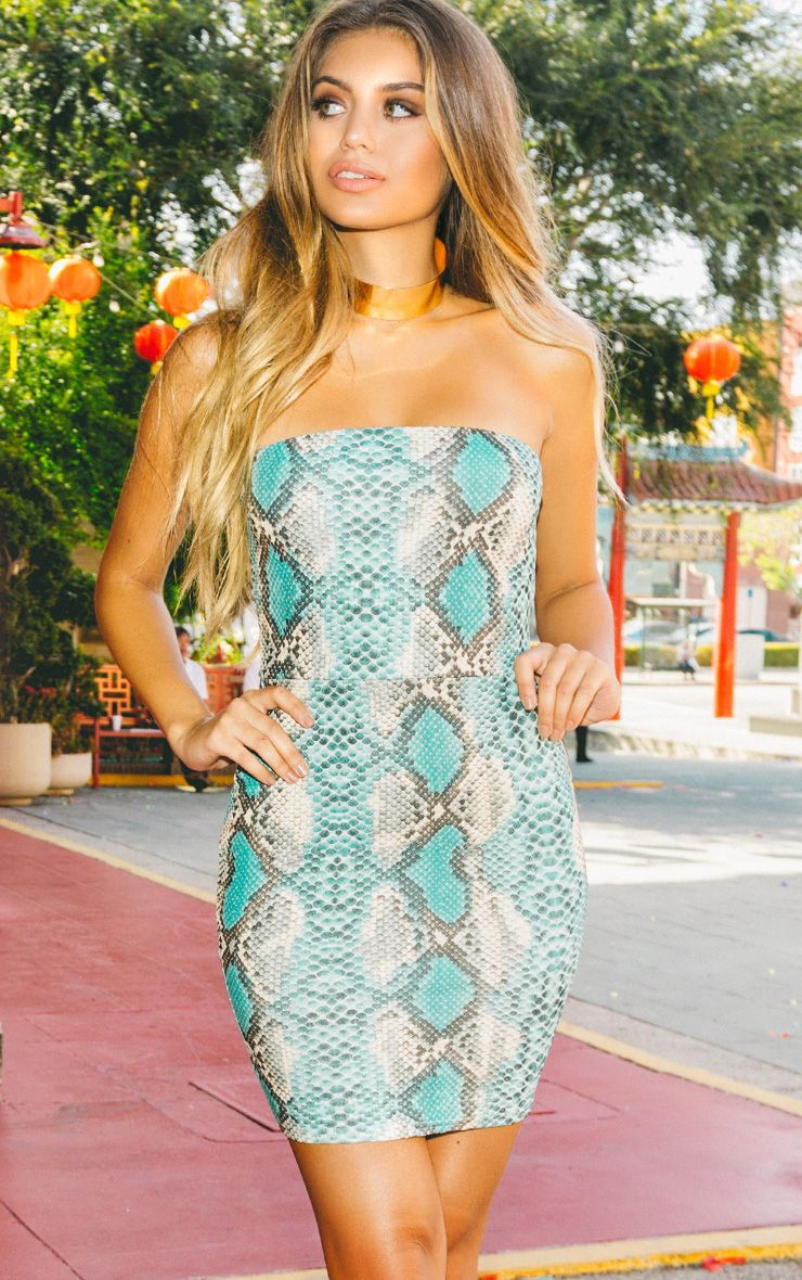 Kaddy Turquoise Snakeskin Bandeau Bodycon Dress