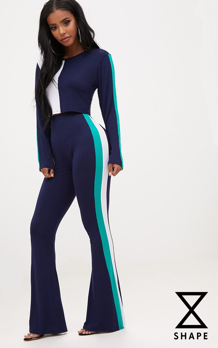Shape Navy/Green Stripe Side Flared Trousers