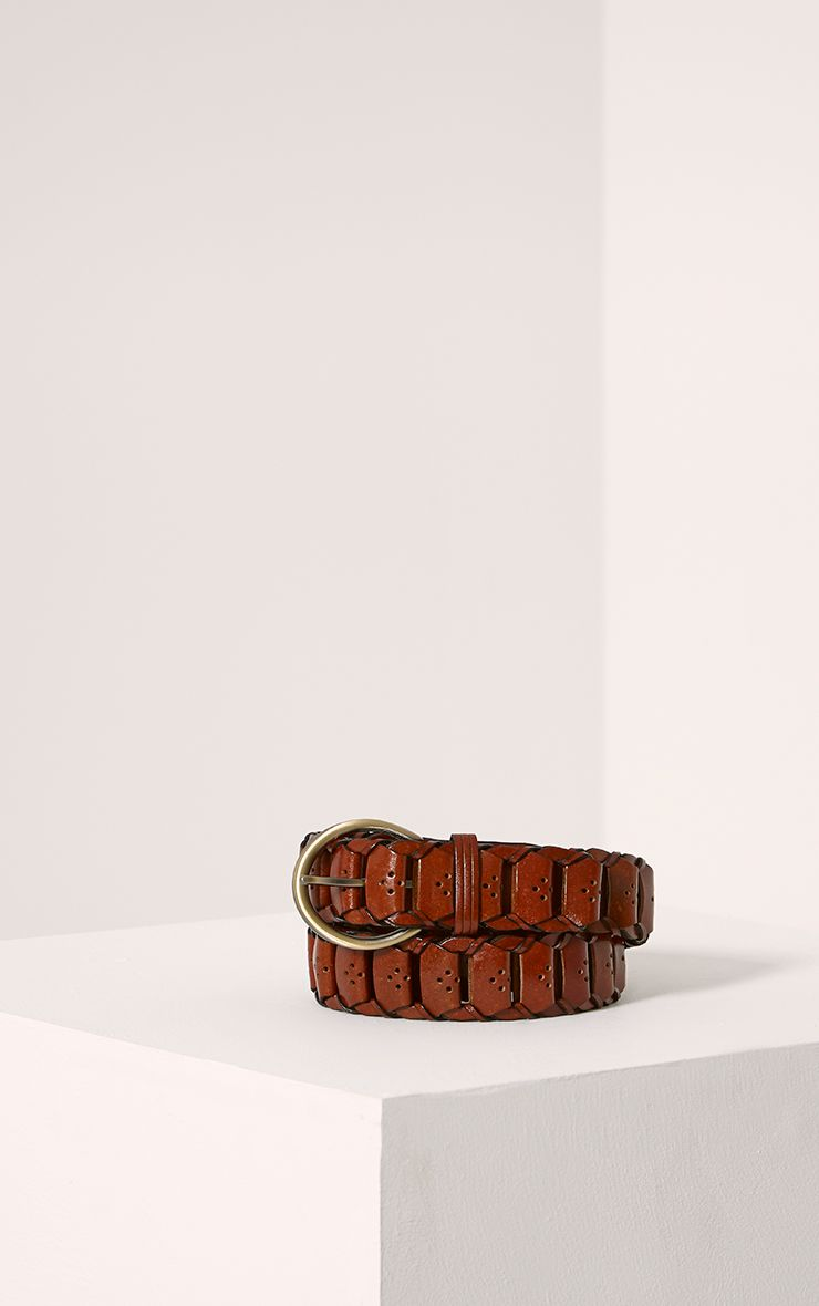 Renata Tan Leather Link Belt 1