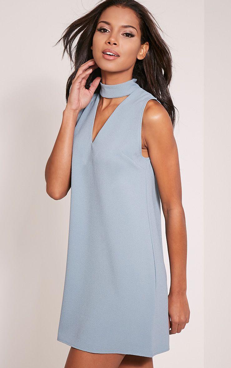 Cinder Dusty Blue Choker Detail Loose Fit Dress