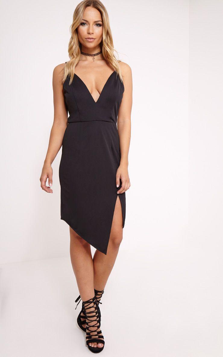 Bay Black Plunge Strappy Midi Dress 1