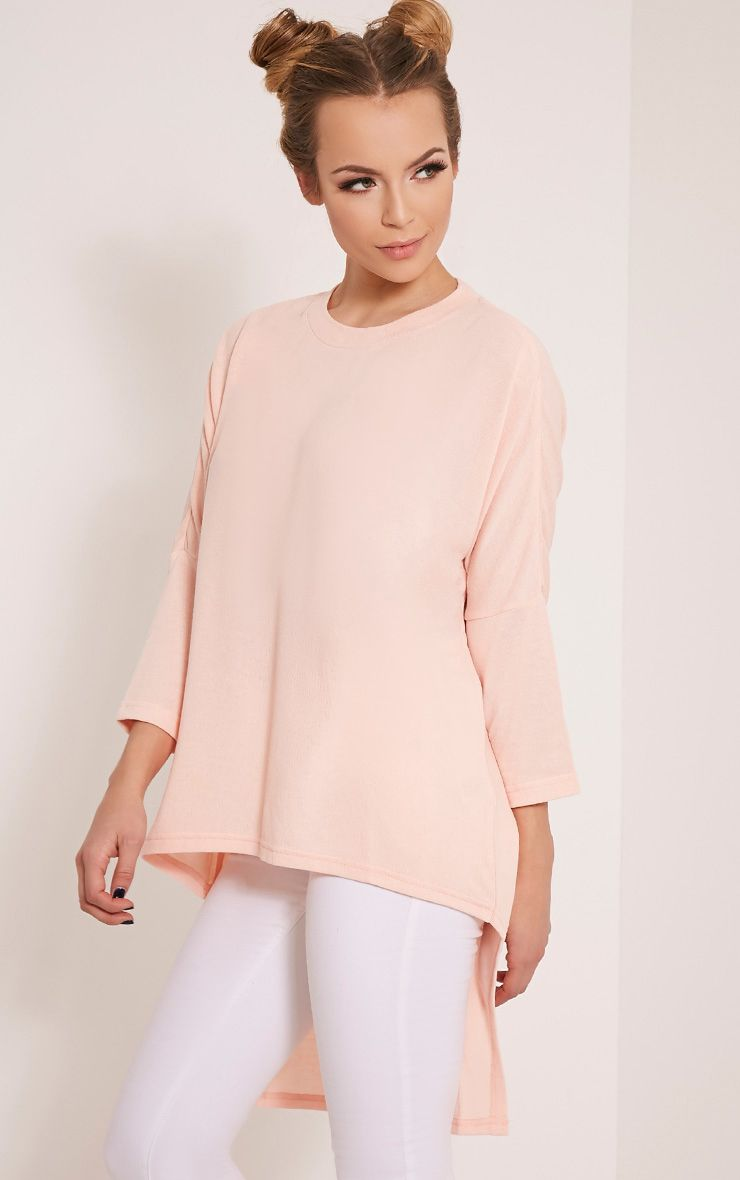 Amalia Nude Drop Hem Long Sleeve Jumper 1