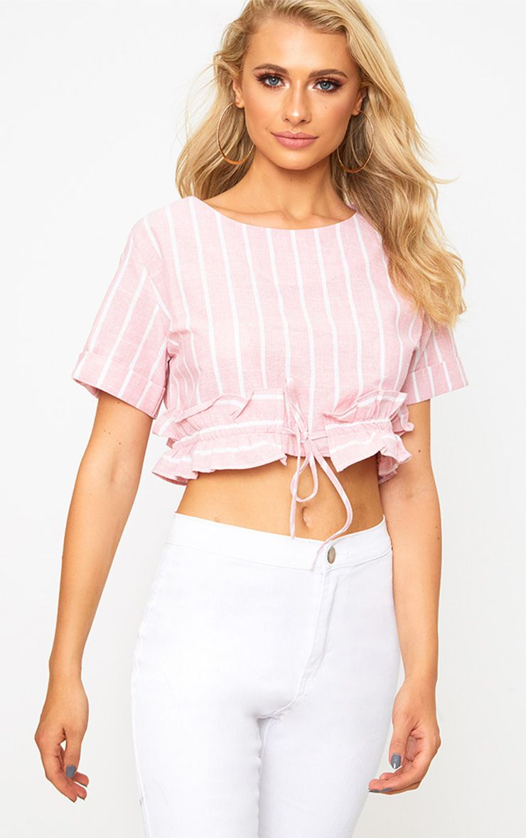 Pink Stripe Drawstring Frill Crop Top