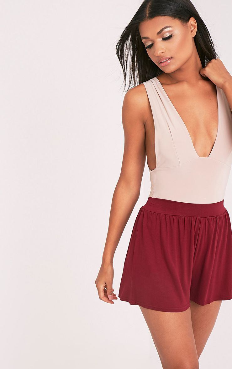 Lucilla Burgundy Jersey Floaty Shorts