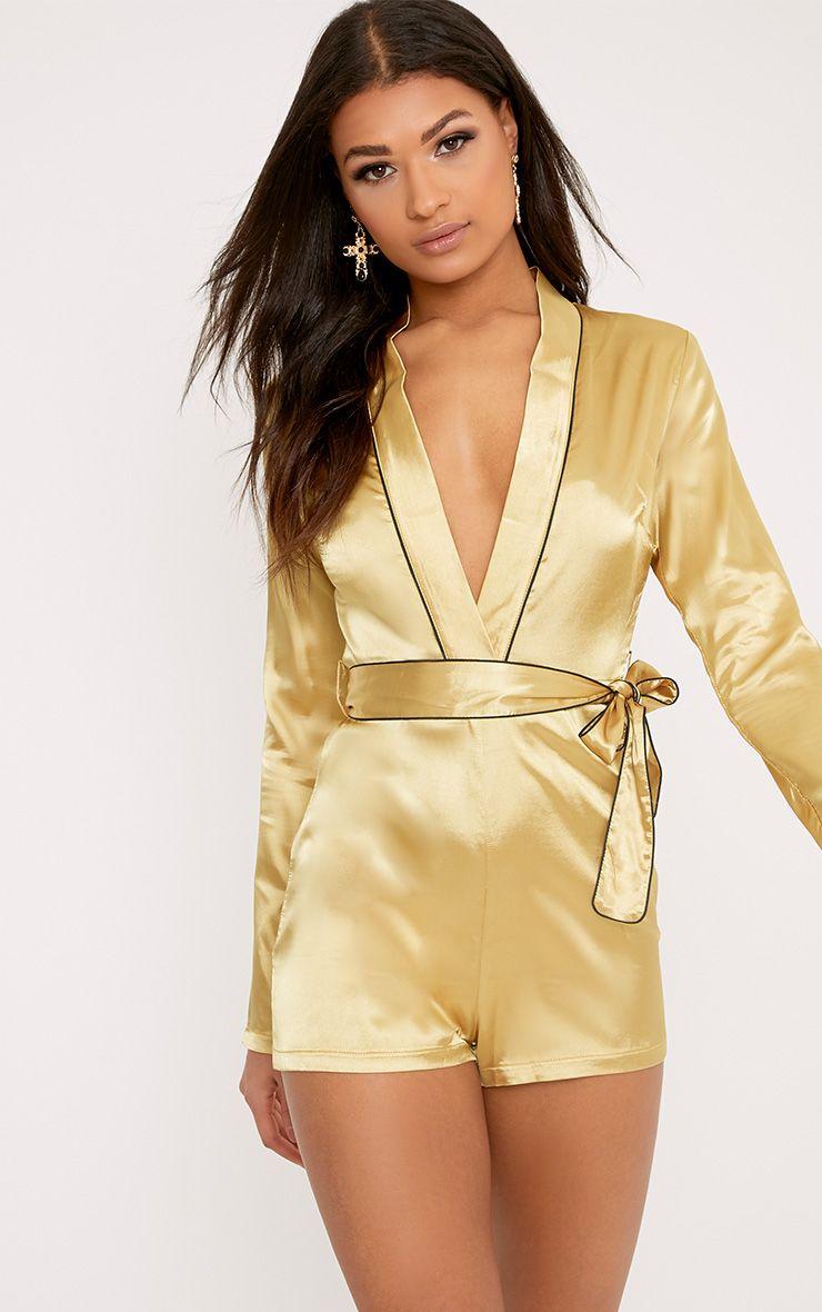 Alisha Gold Pyjama Style Playsuit