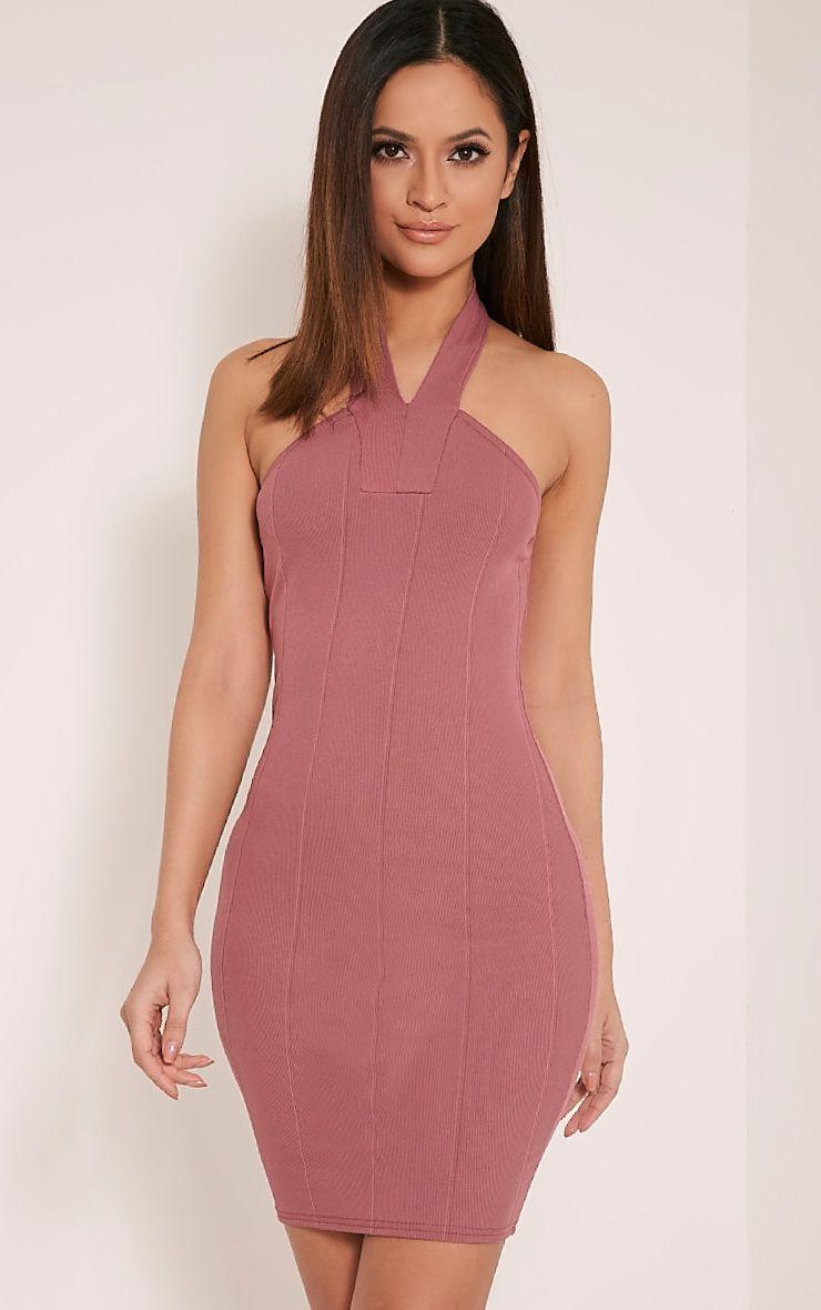 Chessie Rose Halterneck Bandage Bodycon Dress 1
