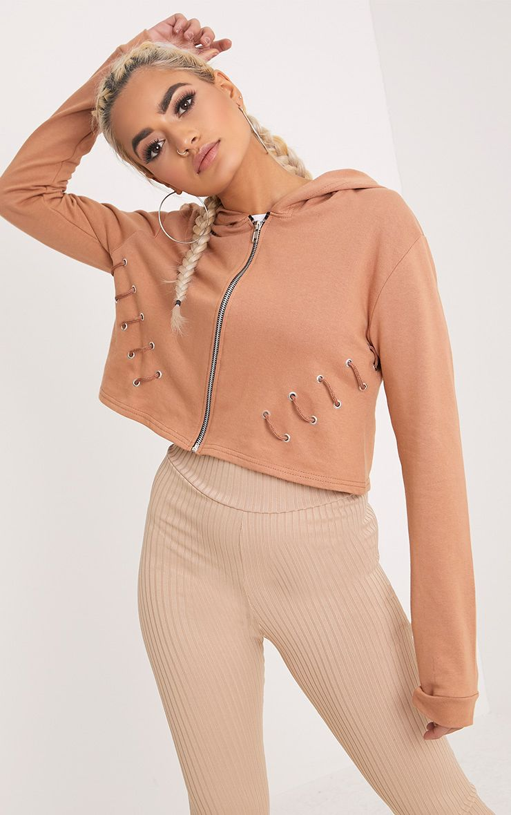 Imogen Peach Lace Up Detail Cropped Hoodie