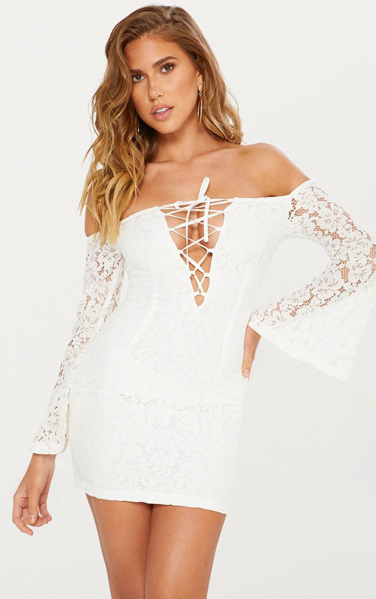 White Lace Bardot Flare Sleeve Bodycon Dress