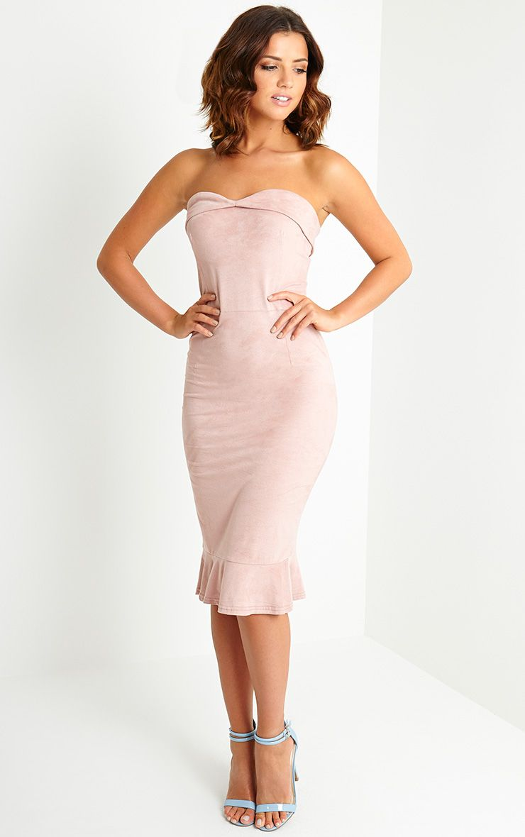 Lorena Dusty Pink Suede Bandeau Midi Dress 1