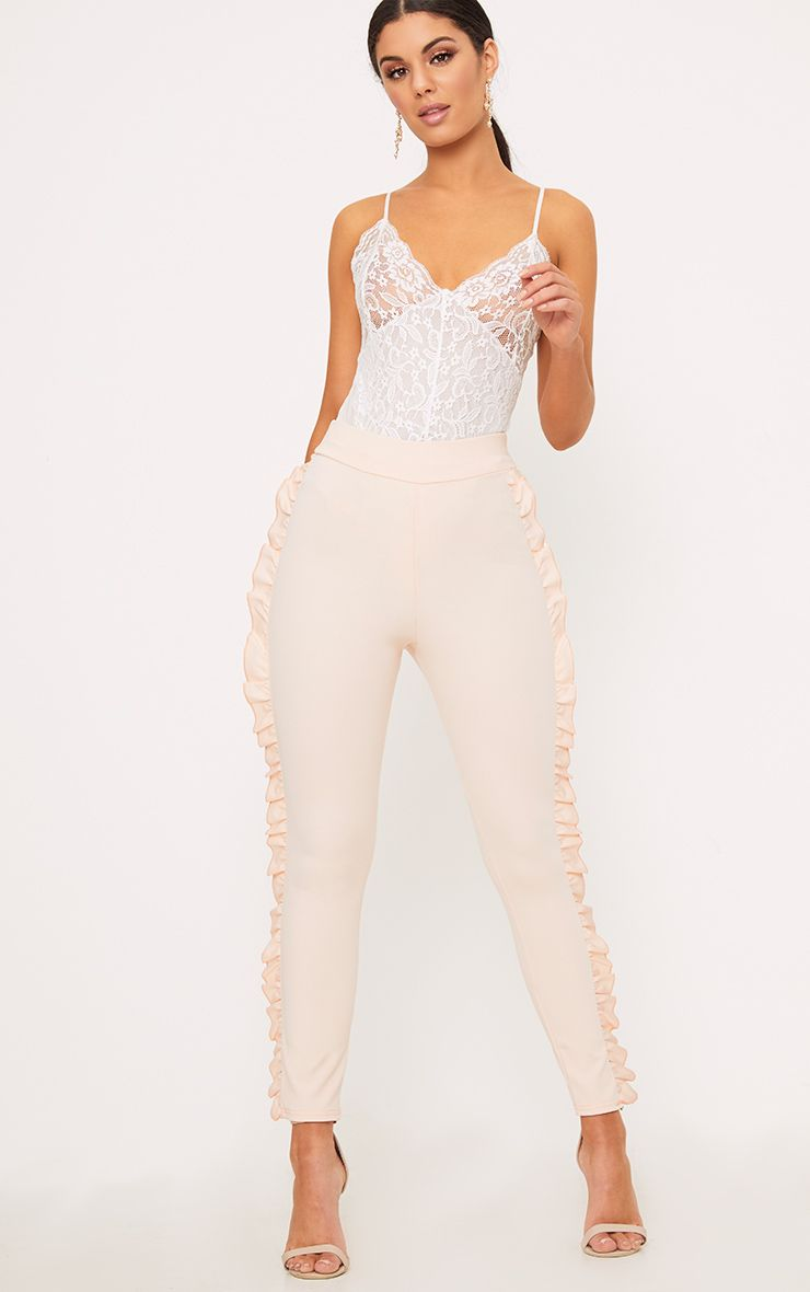 Nude Frill Detail Skinny Trousers