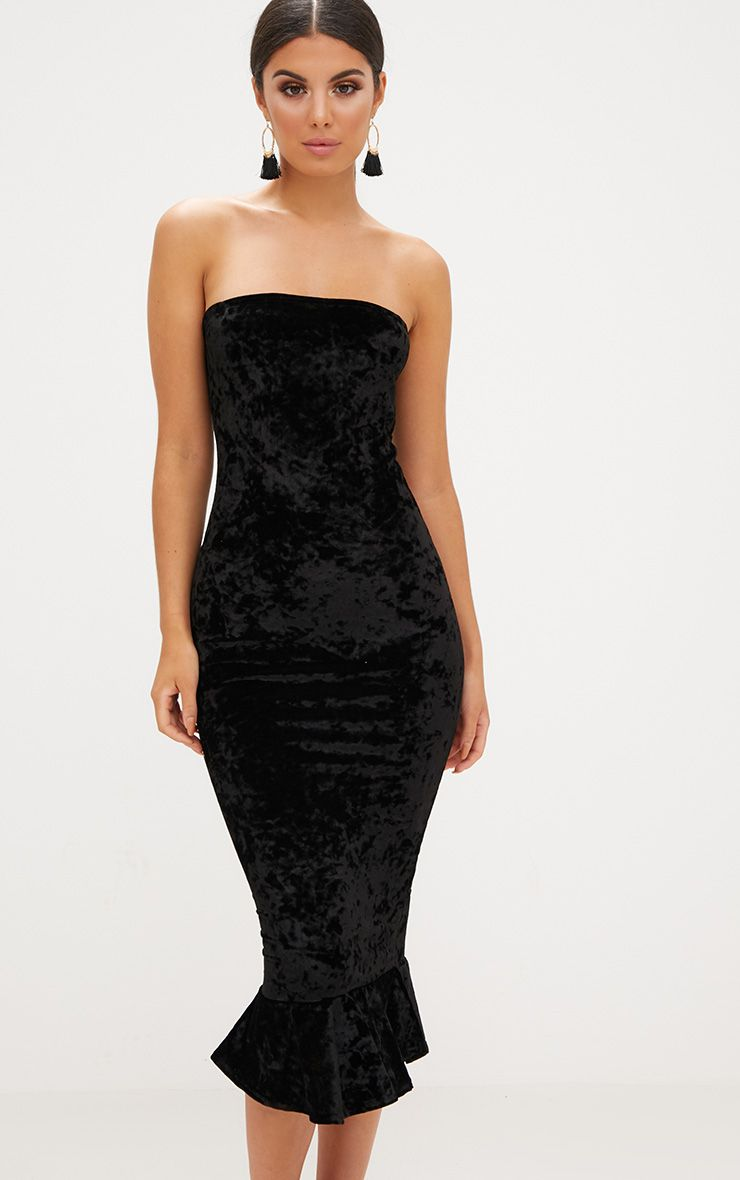 Black Velvet Frill Hem Bandeau Longline Midi Dress
