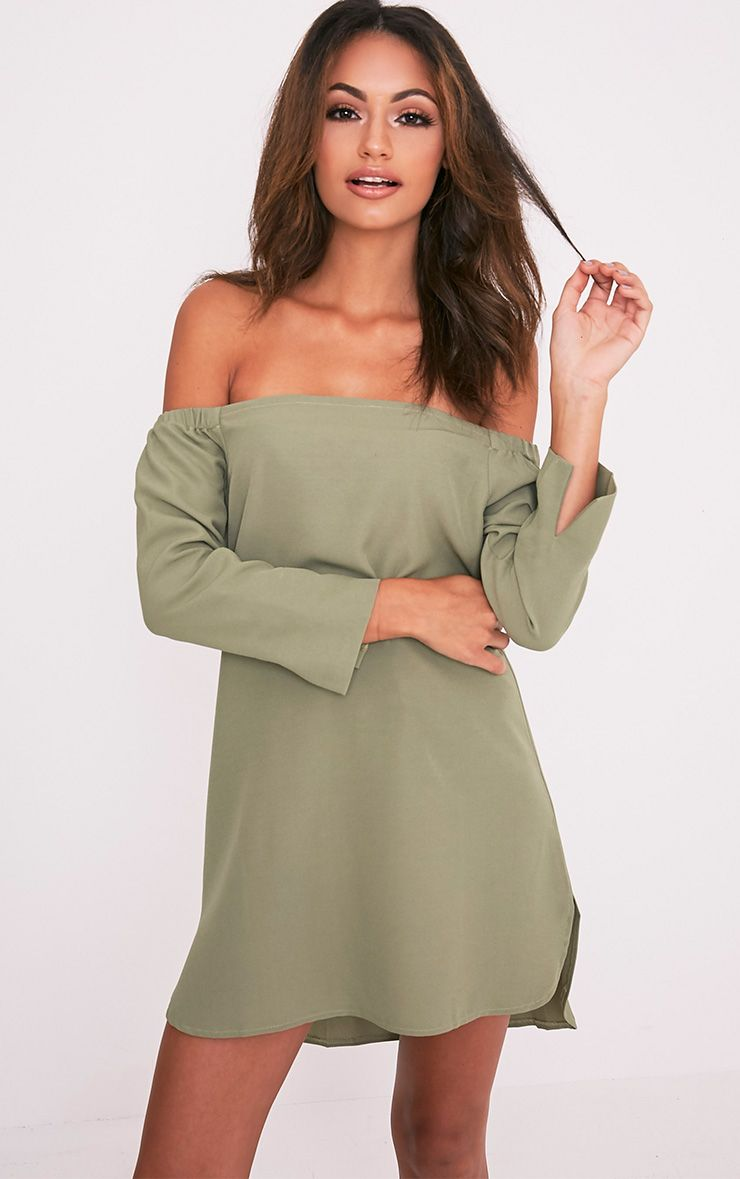 Kandie Sage Green Curved Hem Bardot Swing Dress