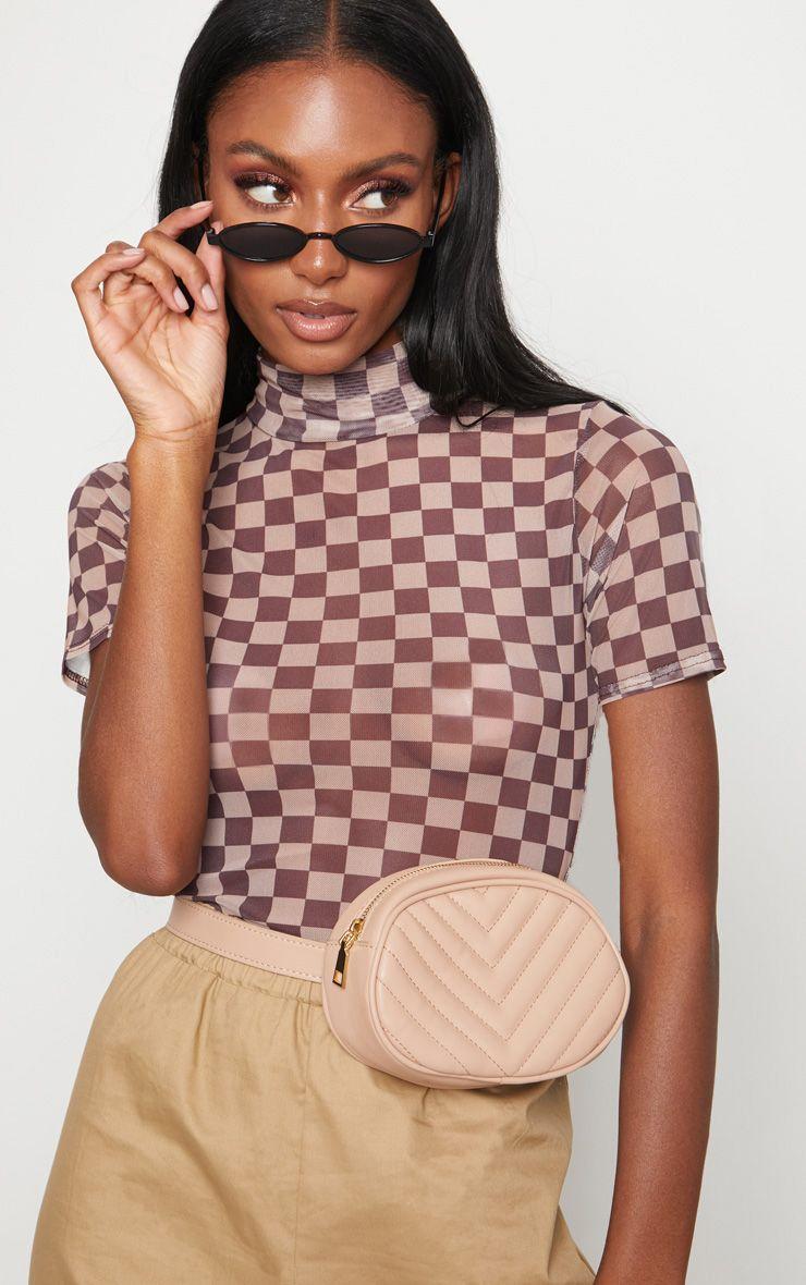 Tan Sheer Contrast Square Thong Bodysuit