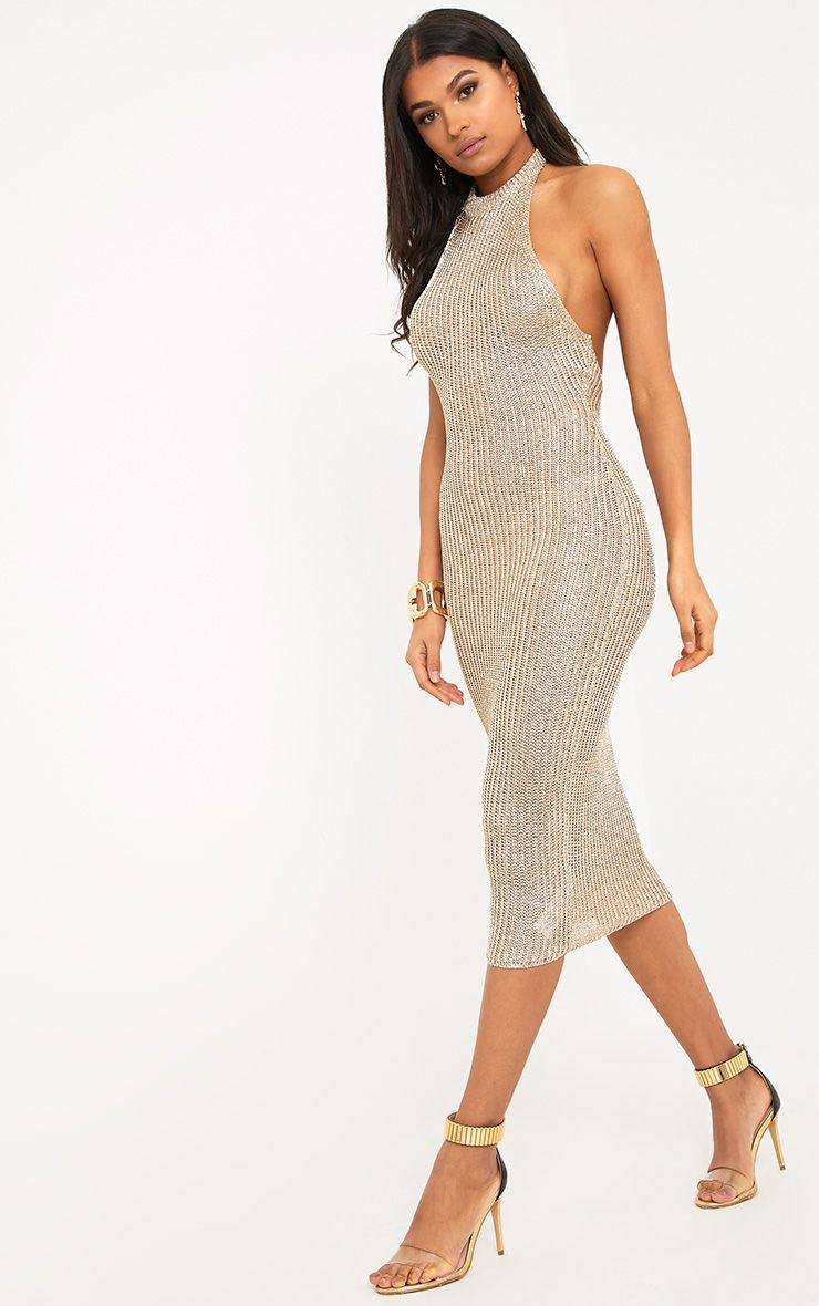 Faizah Gold Metallic Halterneck Knitted Midi Dress