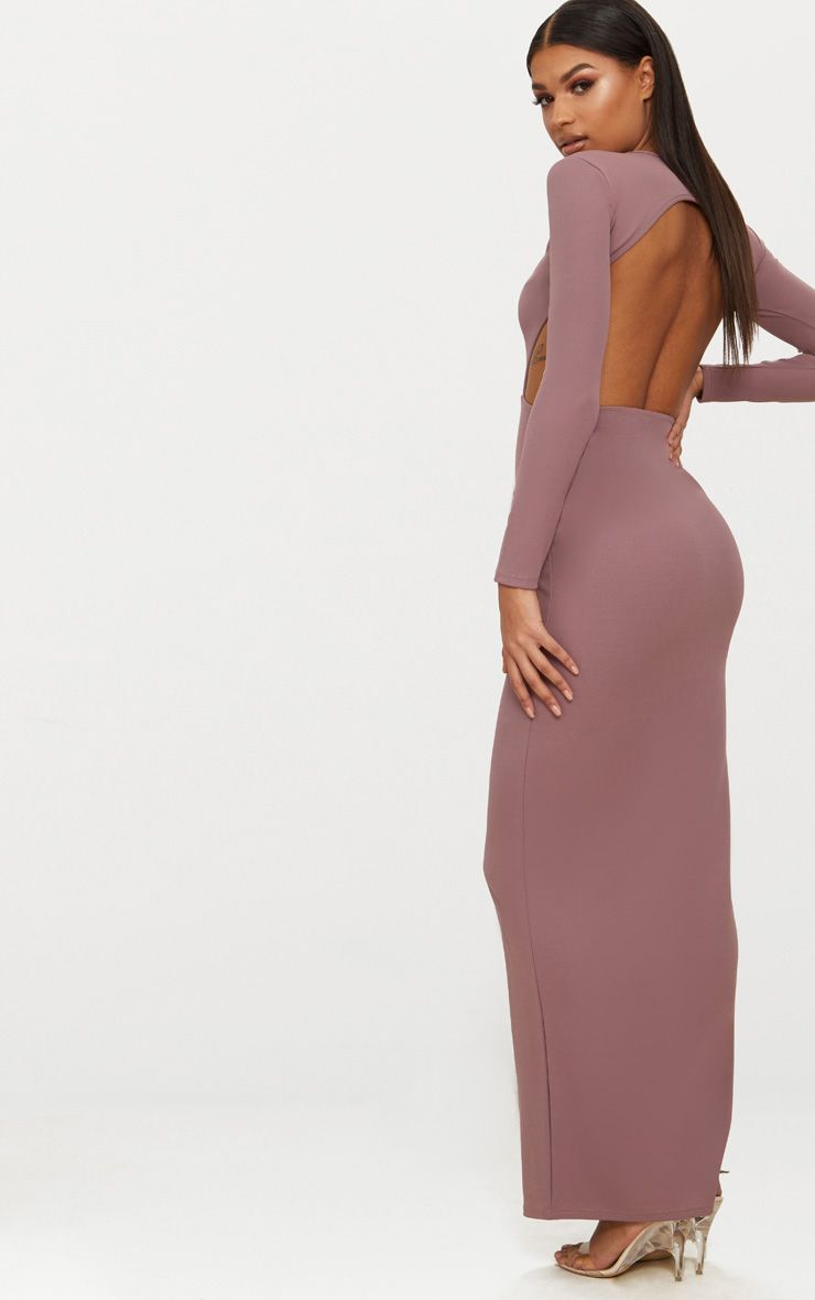 Dark Mauve Backless Long Sleeve Maxi Dress