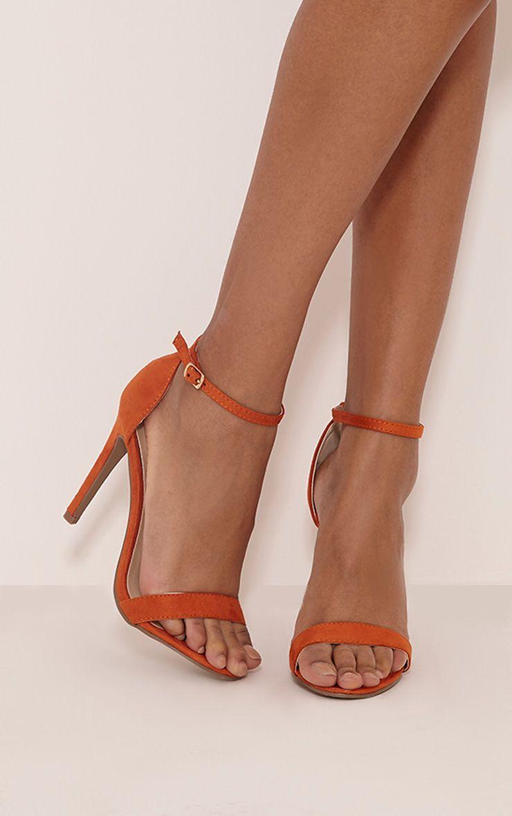 Clover Orange Faux Suede Strap Heeled Sandals 1
