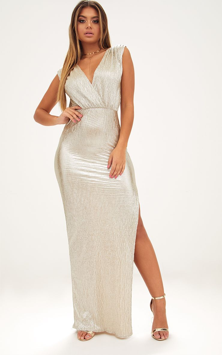 Gold Pleated Foil Extreme Plunge Maxi Dress