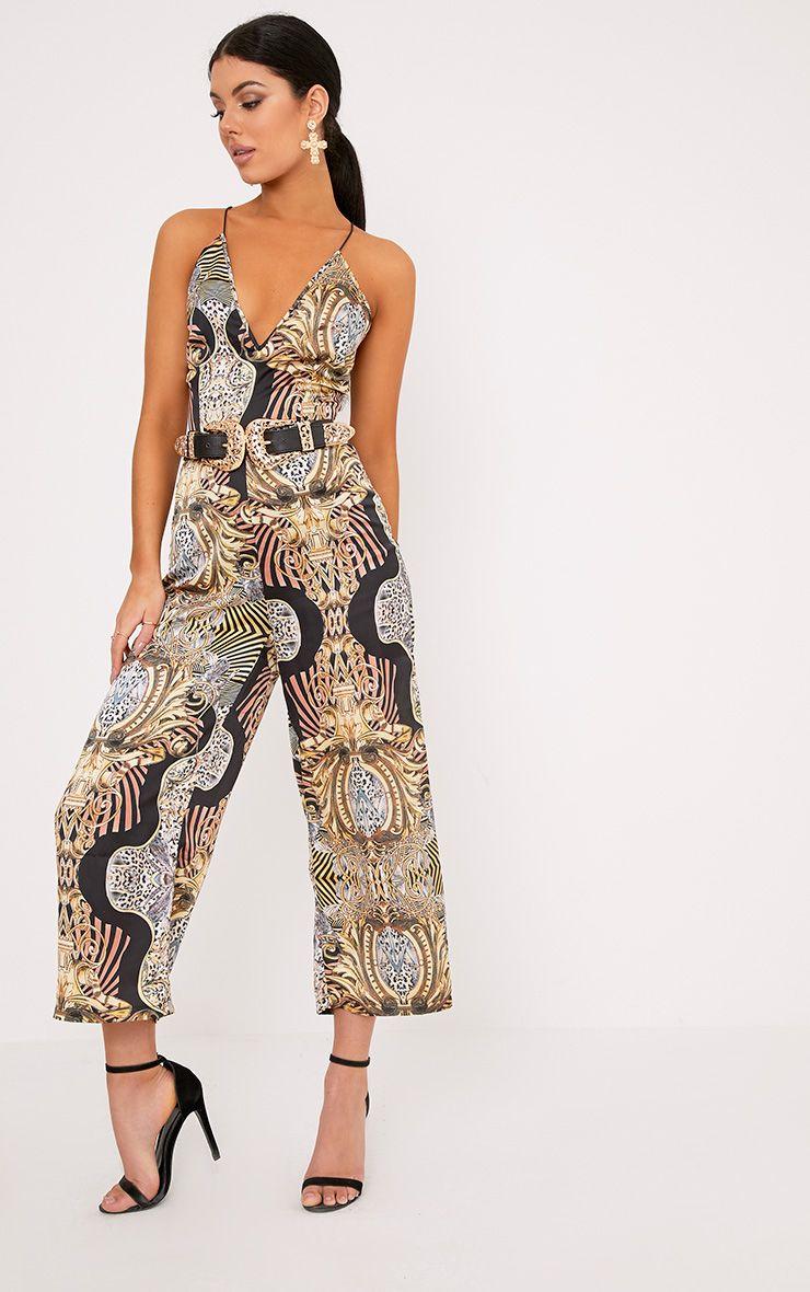 Tamra Multi Printed Satin Culotte Jumpsuit