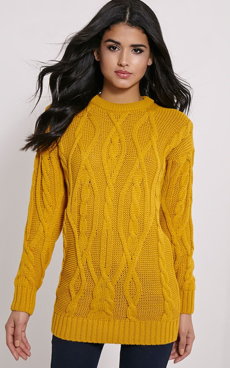 Moon Mustard Cable Knit Mid Jumper 1