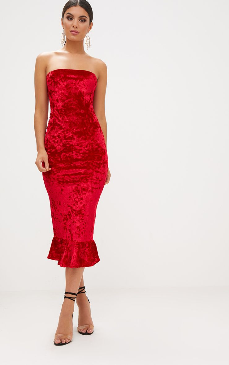 Red Velvet Frill Hem Bandeau Longline Midi Dress