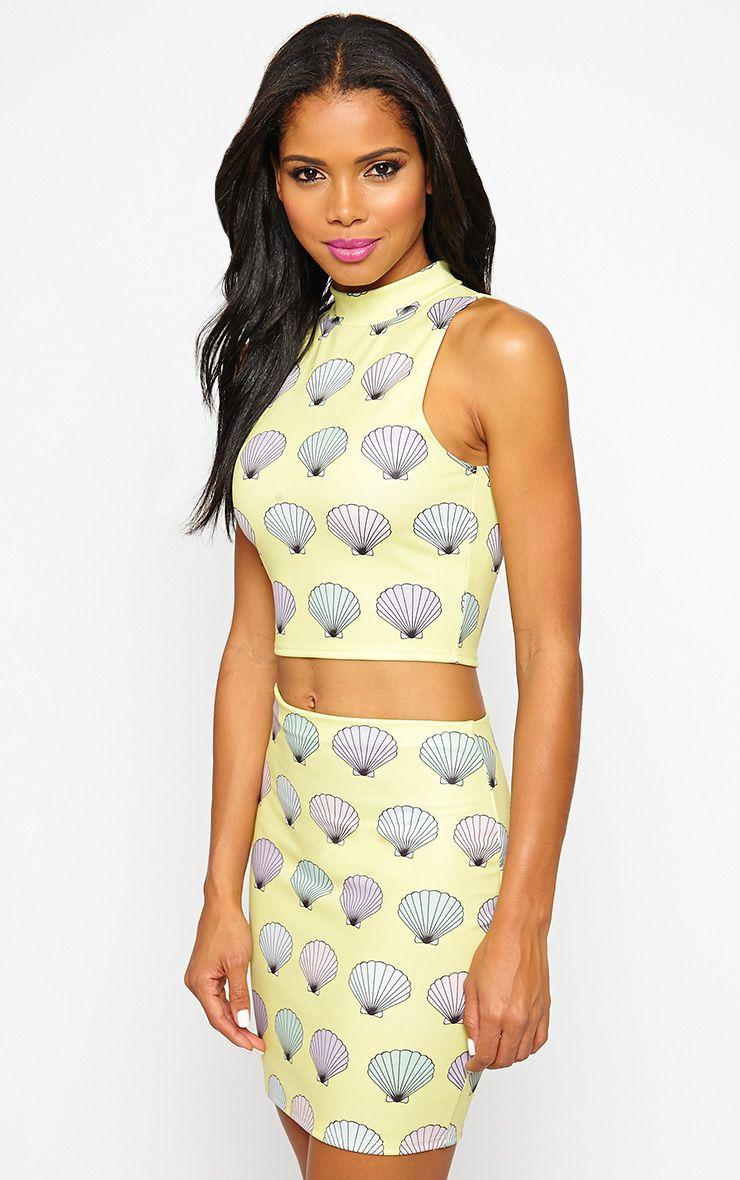 Alexis Yellow Shell Print Skirt 1
