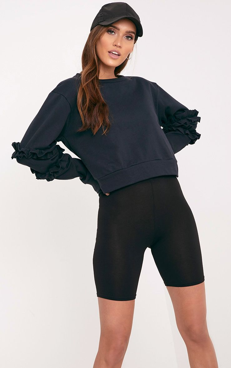 Venetia Black Frill Detail Sleeve Sweater