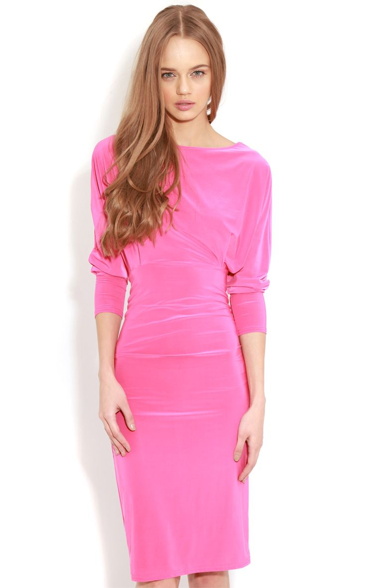 Edan Fuschia Long Sleeve Bodycon Midi Dress  1