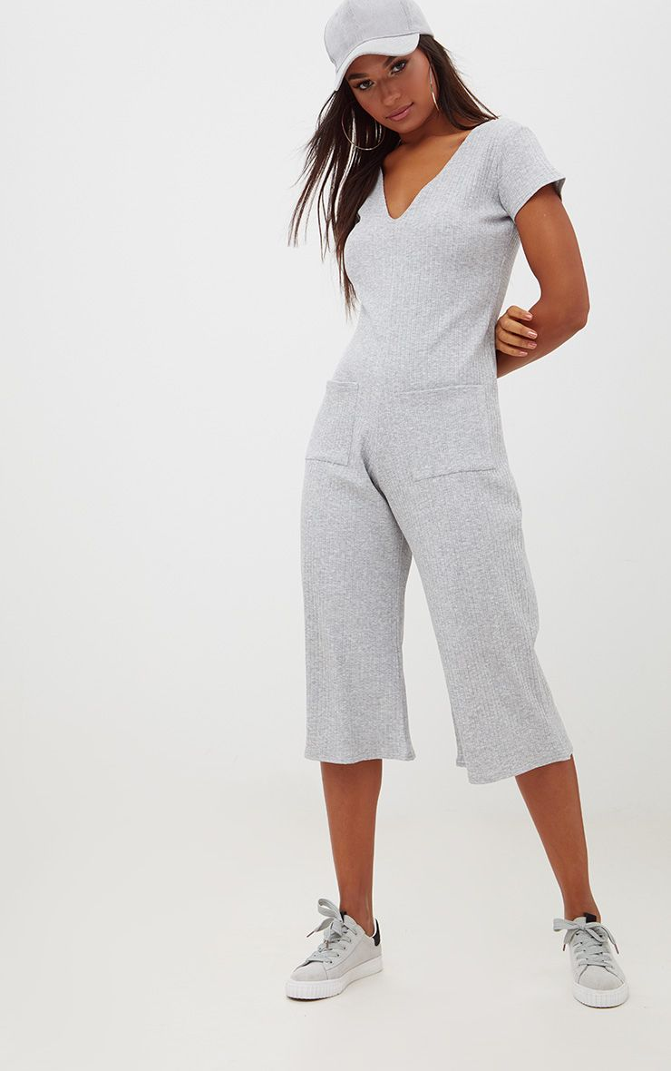 Grey Marl Short Sleeve Ribbed Culottes' Pocket Jumpsuit