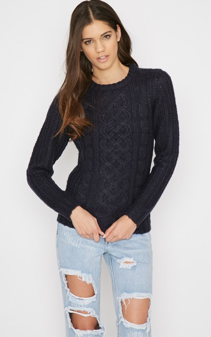 Jayce Navy Cable Knit Jumper 1