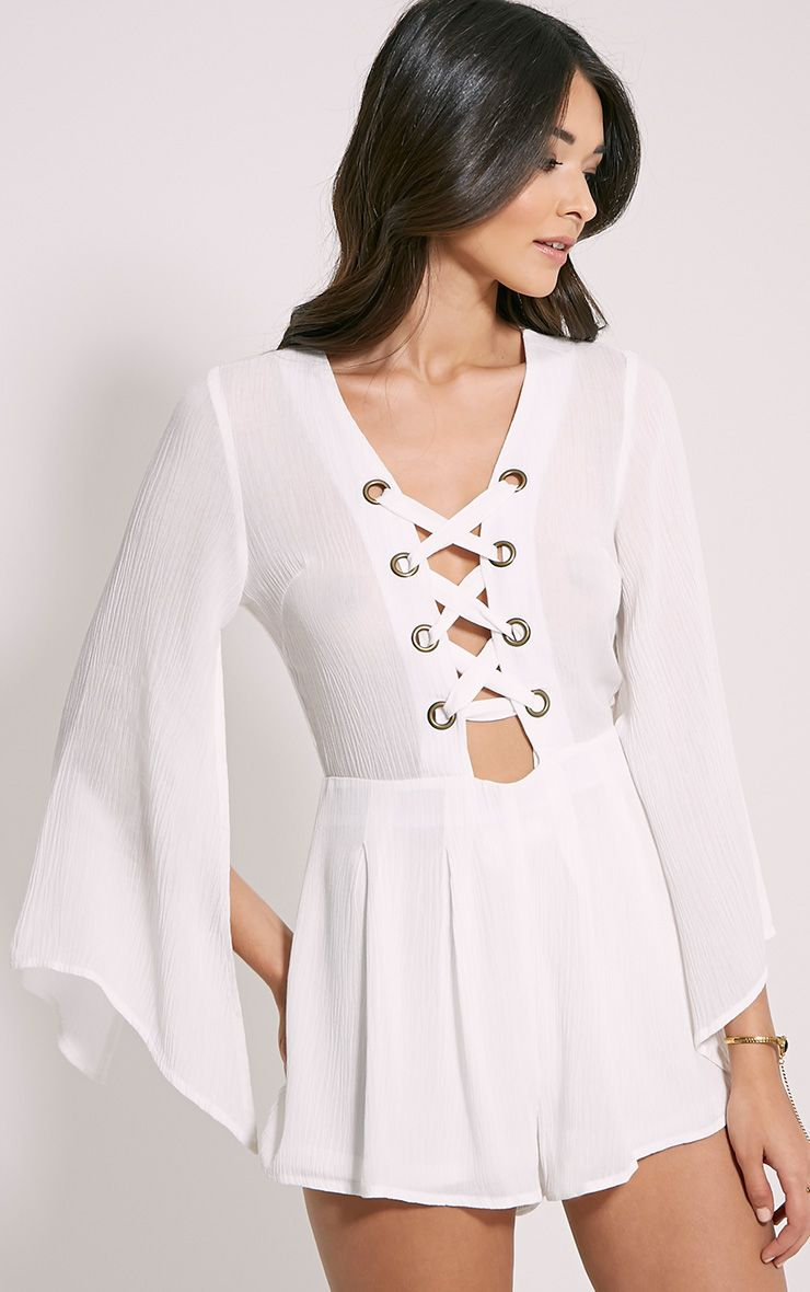 Clemence White Lace Up Detail Bell Sleeve Playsuit 1