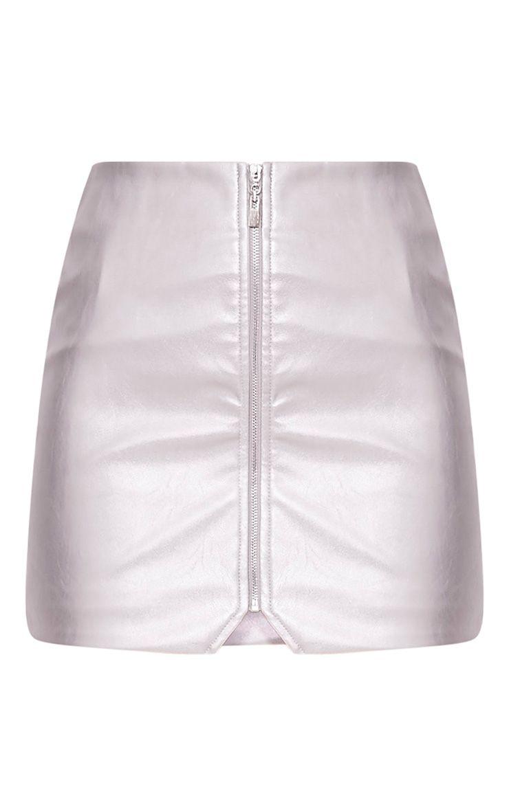 Suzy minijupe à fermeture éclair devant imitation cuir argentée 3