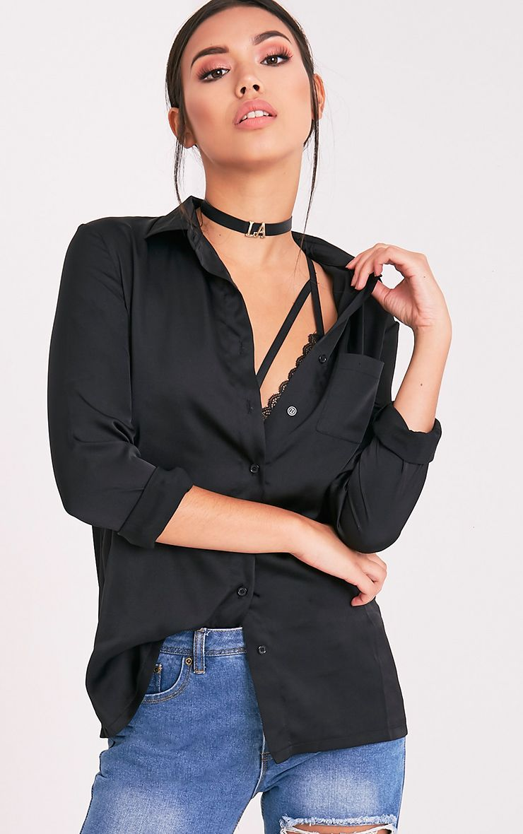Dee Black Satin Shirt