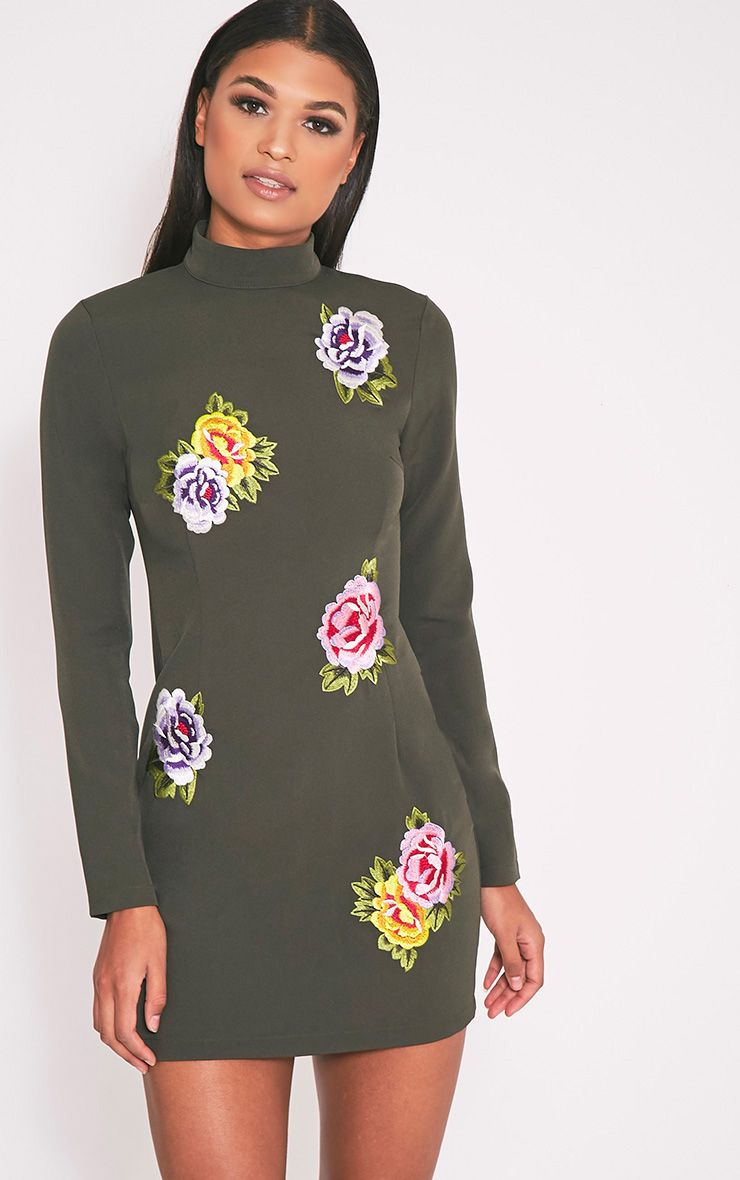 Marlia Khaki Floral Embroidered High Neck Bodycon Dress