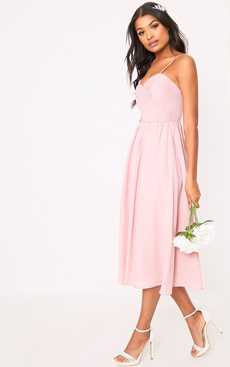 Gracelyn Dusty Pink Pleat Detail Midi Dress