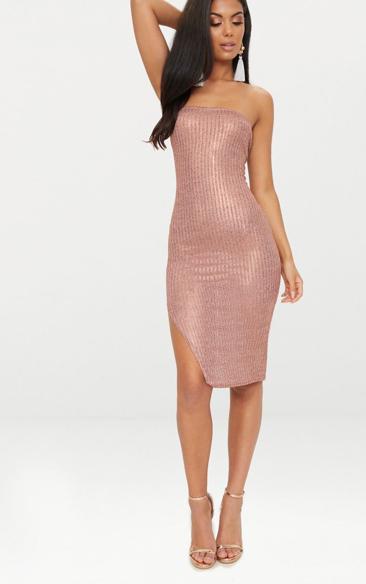 Rose Gold Ribbed Extreme Split Bandeau Midi Dress