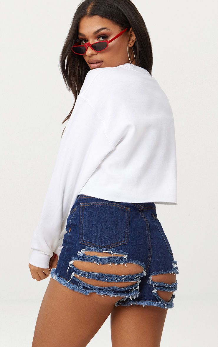 Mid Wash Shelby Bum Rip High Waisted Denim Short