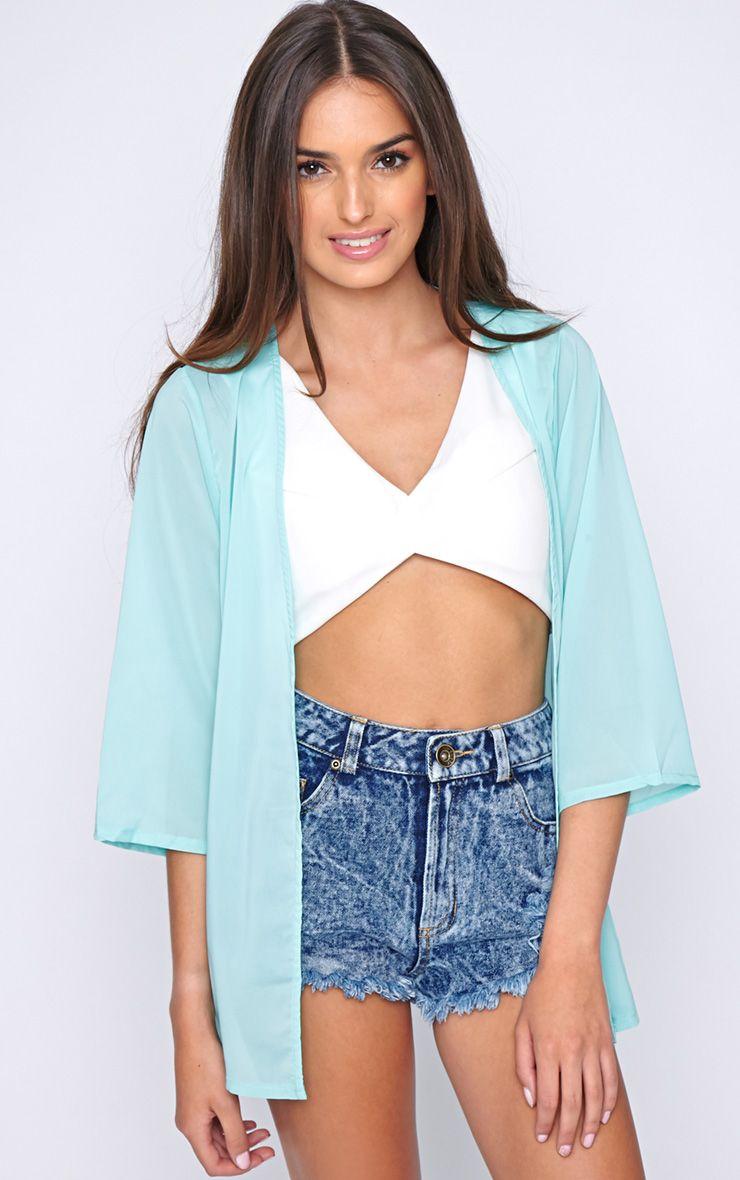Lizzy Mint Cropped Kimono  1