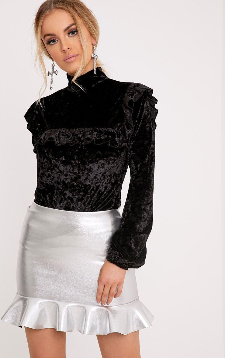 Teyah Black Crushed Velvet Ruffle Top