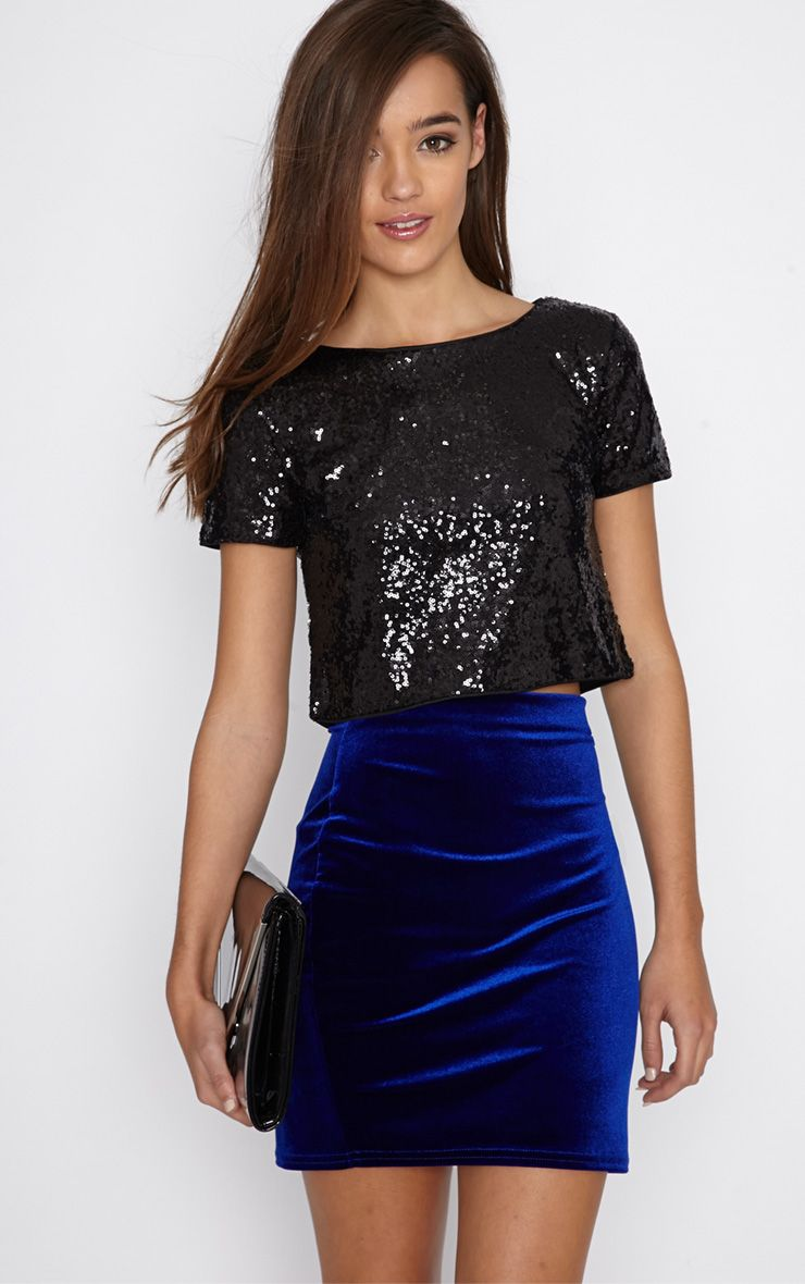 Mai Black Sequin Crop Top 1