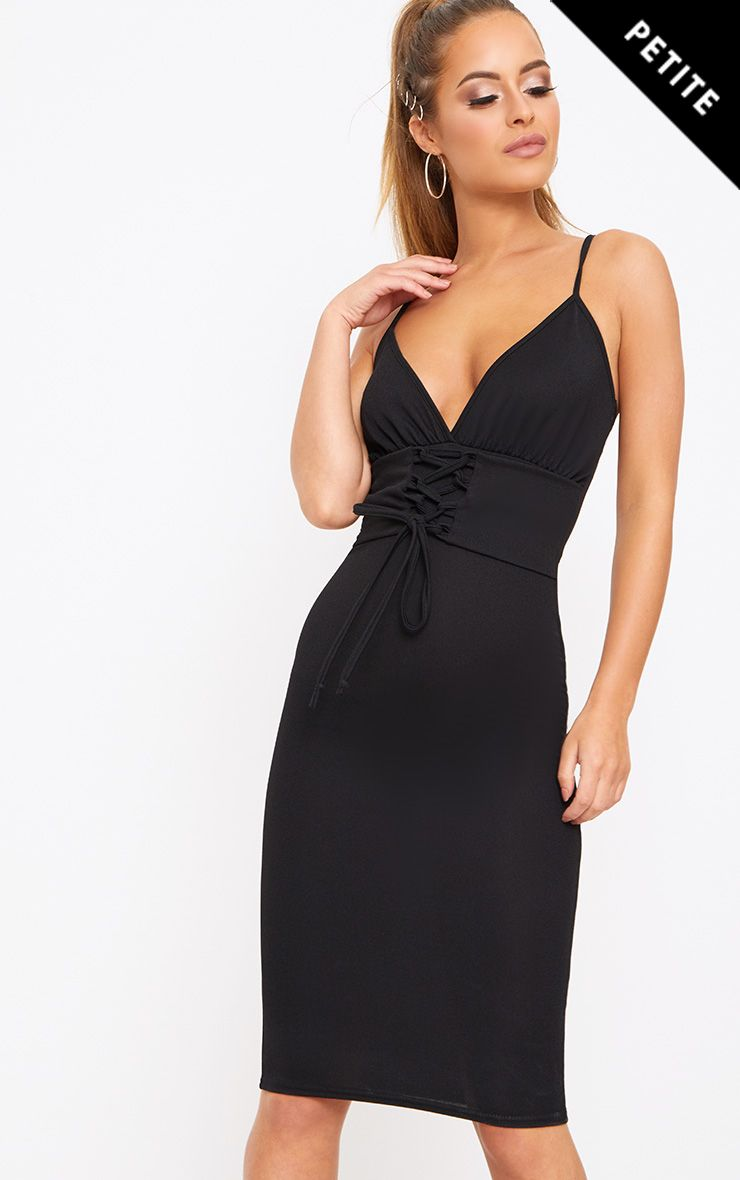 Petite Black Crepe Corset Waist Midi Dress