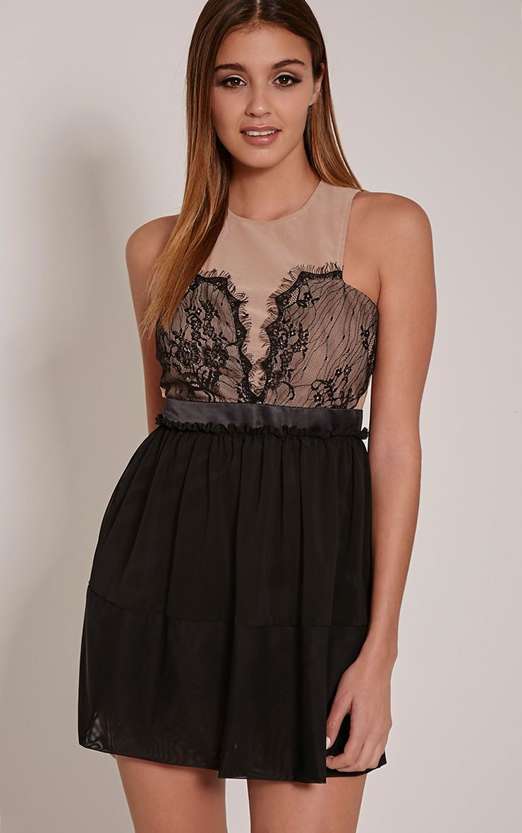 Kym Black Mesh Insert Lace Prom Dress 1