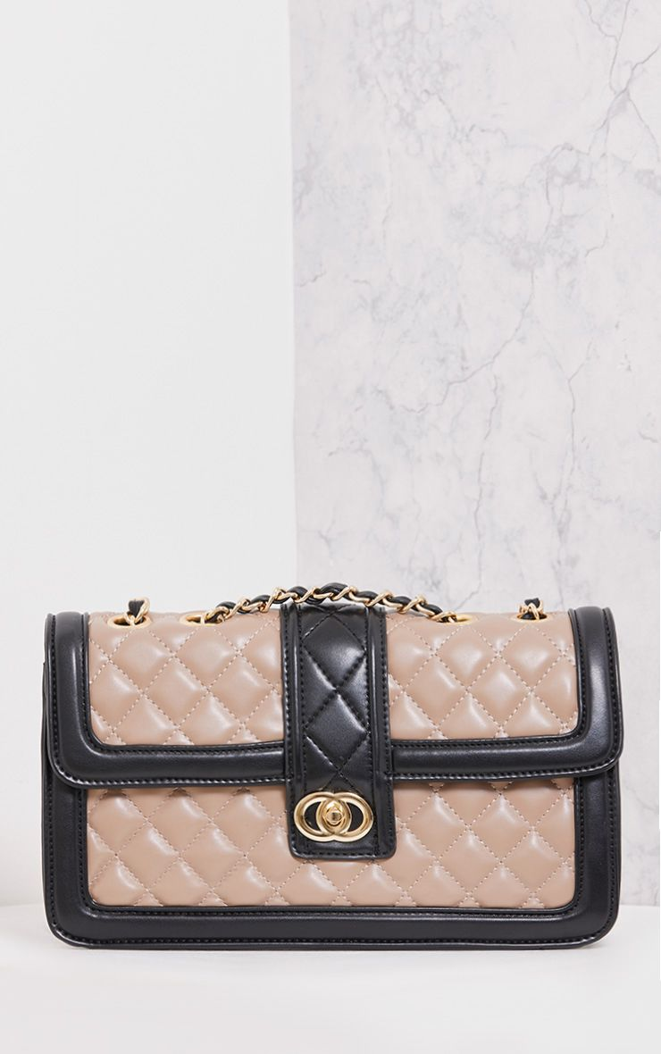 Wilney Mocha Quilted Two Tone Bag