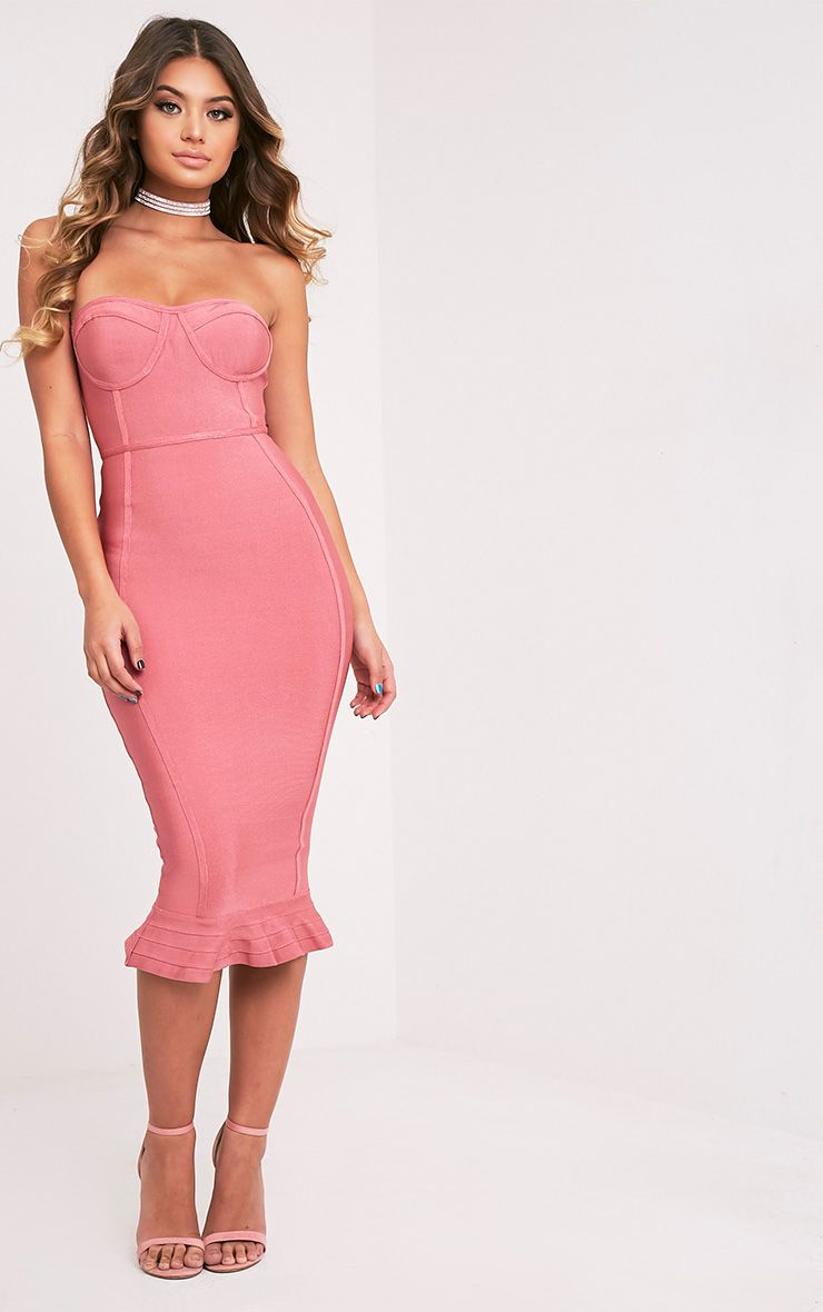 Roxina Rose Bandage Frill Hem Midi Dress